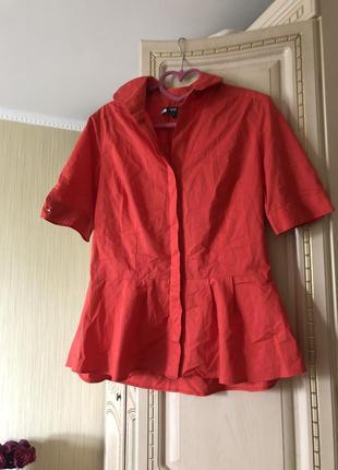 Эффектная коралловая блузка рубаха рубашка с баской,6 фото
