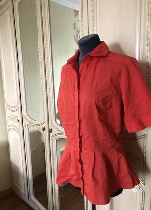Эффектная коралловая блузка рубаха рубашка с баской,7 фото