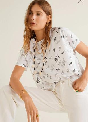 Модная укороченная футболка свободный фасон м  mango новинка 2020 года