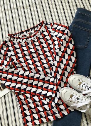 Хлопковая цветная блузка massimo dutti, cos, zara, размер 3210 фото