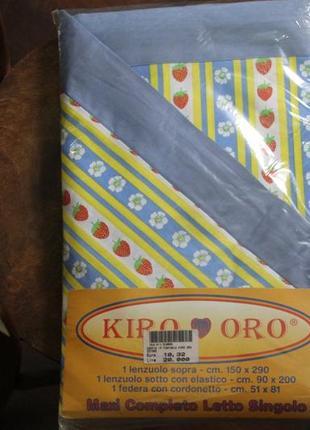 Односпальное белье хлопок евро комплект, простынь на резинке 90 на 200