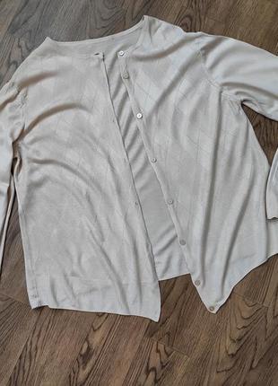 Бежевый кардиган легкий летний кофта кофточка большого размера батал1 фото