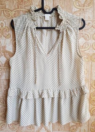 Летняя блузка с рюшами h&m, р.s/36.