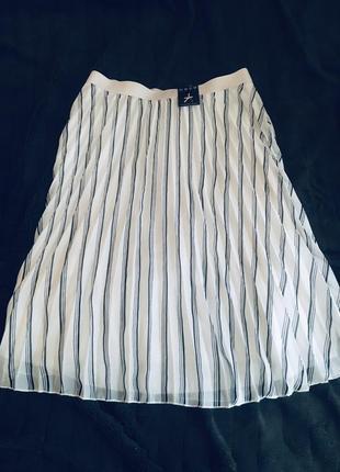 Юбка юбочка плиссе спидниця шикарная легкая белая в складочку летняя легкая в полоску