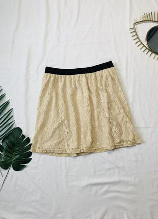 Кружевная мини юбка на резинке большой размер