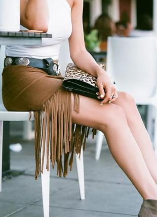 Morgan100%кожаная юбка с бахромой,бохо стиль.