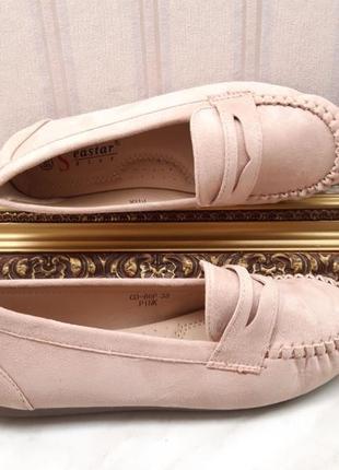 Замшевые туфли лоферы пудра - венгрия