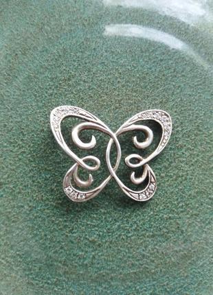Брошь бабочка серебро 925