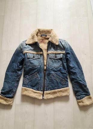 Утепленная джинсовая куртка на меху  джинсовка теплая от levi's-s-36р