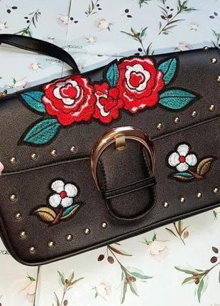 🎁1+1=3 черная сумочка сумка с вышивкой кросбоди primark через плечо с длинной ручкой