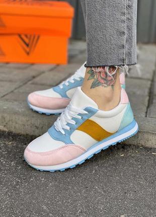 Новые кроссовки замш белые розовые кеды