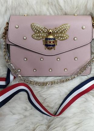 Женская сумочка клатч пудра