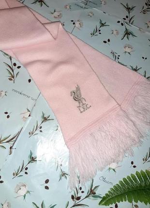 🎁1+1=3 мягкий теплый розовый шарф с фирменной вышивкой l.f.c. liverpool