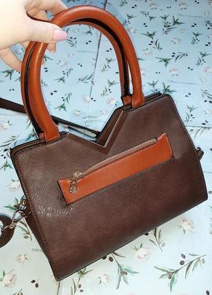 🎁1+1=3 базовая строгая кожаная коричневая сумка сумочка с короткими ручками love moda