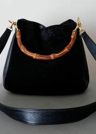 Оригинальная вместительная кожанная  сумка на двух ручках gucci