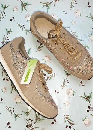 🎁1+1=3 фирменные кожаные кроссовки натуральная кожа, в цветочный принт damart, размер 39