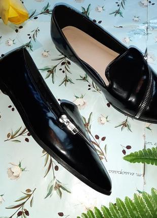 🎁1+1=3 шикарные лаковые черные туфли с острым носком лодочки лоферы asos, размер 406 фото