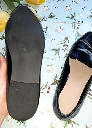 🎁1+1=3 шикарные лаковые черные туфли с острым носком лодочки лоферы asos, размер 407 фото