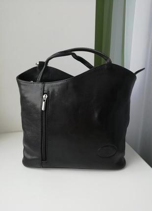 Італійська фірмова шкіряна сумка рюкзак vera pelle!!!