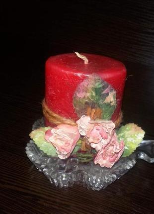 Ароматическая свеча + хрустальный подсвечник