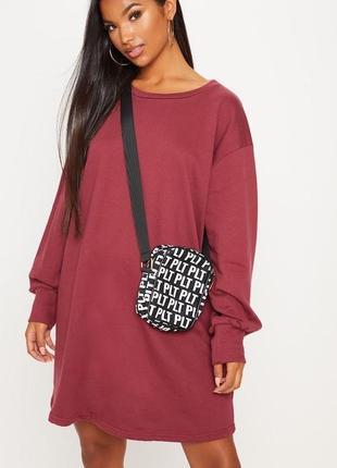 Разпродажа бордовое хлопковое платье свитер оверсайз prettylittlething