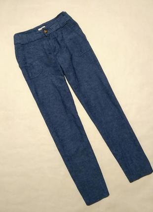 Брюки штаны синие лён прямого кроя