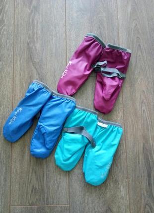 Голубые синие сиреневые варежки краги мальчик девочка  водоотталкивающие ветрозащитные