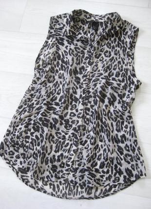Блузка h&m тигровый принт сафари разноцветная ткань копия шёлк без рукава