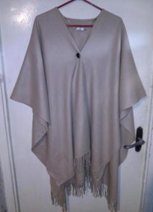 Асимметричная,накидка-кардиган с бахромой,camel,в стиле бохо,большого размера,оверсайз