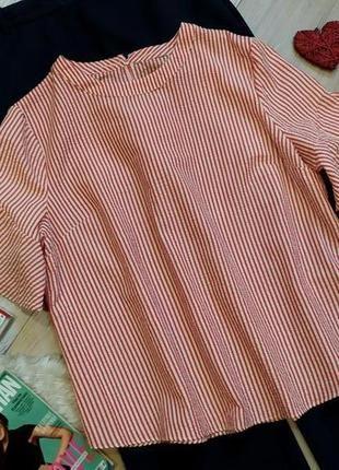 Стильная блузка в полоску рукава воланы размер 20 -22(52-54)