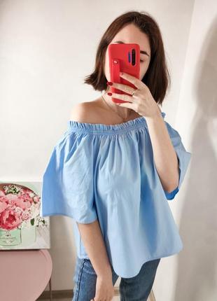 Женская голубая блуза топ на плечи