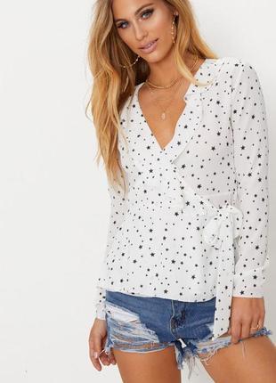 Блузка на запах с длинными рукавами