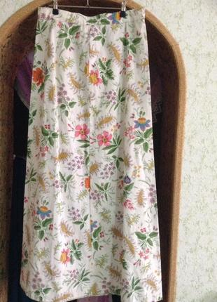 Винтажная юбка длинная в цветочный принт.1 фото