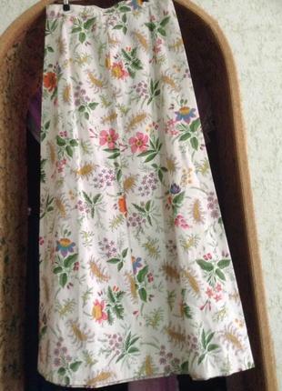Винтажная юбка длинная в цветочный принт.3 фото