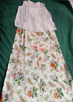 Винтажная юбка длинная в цветочный принт.4 фото