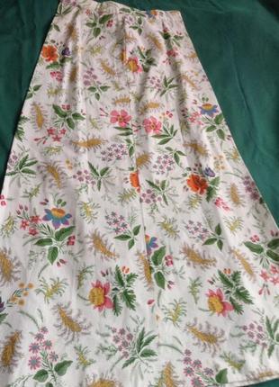 Винтажная юбка длинная в цветочный принт.6 фото