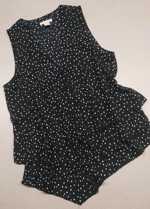 Блуза черно-синяя в белый горох можно беременным