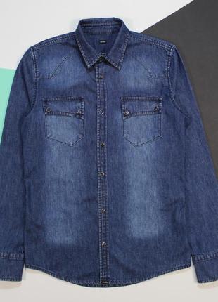 Топовая приталенная джинсовка с красивими заклепками от vailent