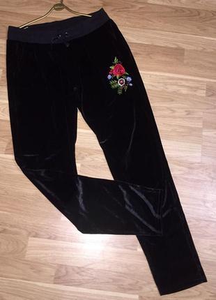 Чёрные бархатные велюровые спортивные штаны