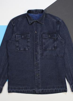Царская приталенная джинсовая рубашка овершот средней плотности