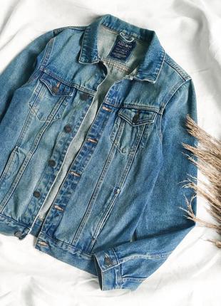 Голубая джинсовая куртка  оверсайз, джинсовка с карманами pull&bear3 фото