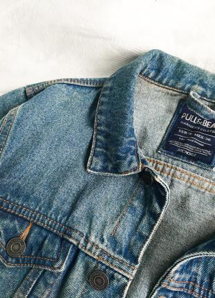 Голубая джинсовая куртка  оверсайз, джинсовка с карманами pull&bear4 фото
