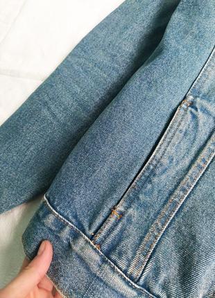 Голубая джинсовая куртка  оверсайз, джинсовка с карманами pull&bear5 фото