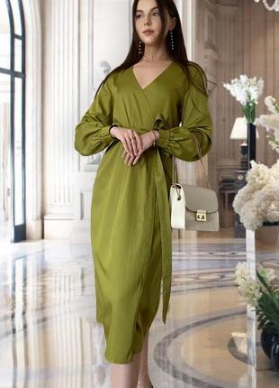 Элегантное оливковое платье на запах lacreccita couture
