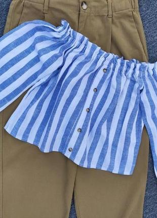 Льняная брендовая блуза м открытыми плечами раз.xs-s