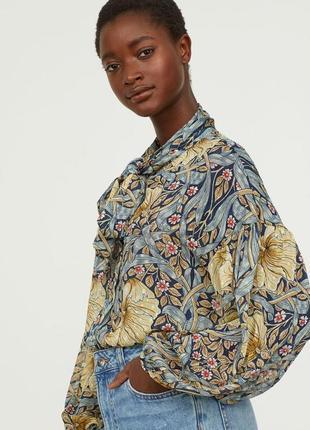 Блузка из премиум коллекции h&m и  morris &co блуза пышные рукава в цветы большой размер