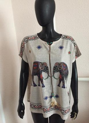 Свободная футболка оверсайз со слоником