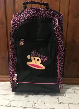 Дорожный детский чемодан на колёсиках, дорожная сумка розово чёрная с обезьянкой