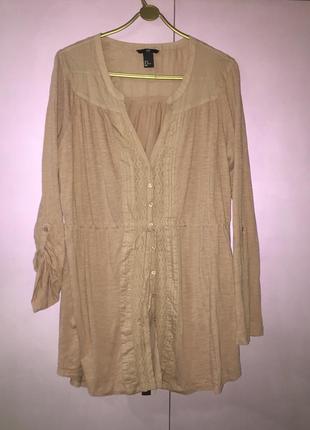 Лёгкая летняя блузка пудрового цвета рукав трансформер из натуральной ткани