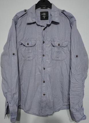M l 48 50 h&m рубашкас подворотами мужская сиреневая фиолетовая кэжуал фирменная